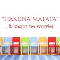 Wall Decal Vinyl Sticker Decals Art Home Decor Murals Childrens Kids Nursery Baby Decor Quote Decal Quote Hakuna Matata Letters Phrase Words Decals KV26