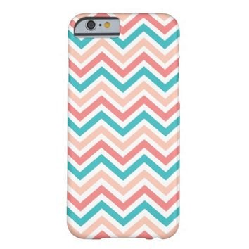 Multicolor Coral Peach Aqua Chevron Stripes