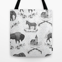 Political Toile Tote Bag by Jessica Roux