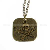 Vintage pirate necklace- Skull necklace