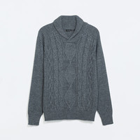 Cable knit sweater with shawl collar