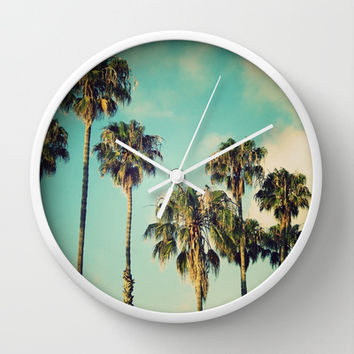 Palms Blue Wall Clock by RichCaspian | Society6