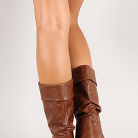 Folded Slouchy Round Toe Mid Calf Boot