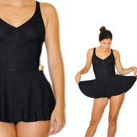 Vintage Swimsuit -- Retro Swim -- Vintage Black Skirted Swimsuit -- Vintage Bathing Suit -- Spring Fashion -- Summer Fashion