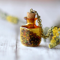 Amber Square Glass Bottle Necklace With Colorful Seed Beads - Tiny Vial - Apothecary Bottle Pendant