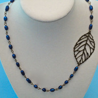 Asymmetrical Leaf Necklace - Deep Blue Freshwater Pearls and Bronzed Leaf Silhouette - Long, One of a Kind