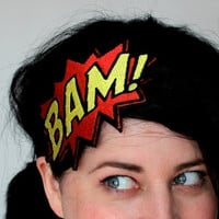 BAM Headband, Comic Book Fascinator, Red and Yellow