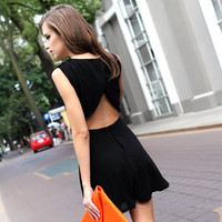 Bqueen Sexy Neckholder Chiffon Black  Dress FQ369H