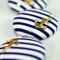 Blue White Anchor Buttons Nautical Sailor Giant Gold