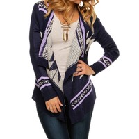 Multi Color Tribal Easeful Cardigan