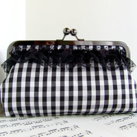 French chic black and white gingham silk clutch purse with lace and flower trim. Fashion