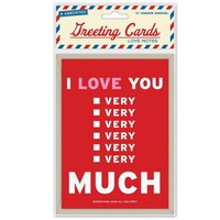 Love Notes Greeting Cards - Assortment of 6 Clever Love Notes - Whimsical & Unique Gift Ideas for the Coolest Gift Givers