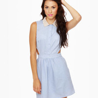 Adorable Chambray Dress - Denim Dress - Shirt Dress - Embellished Collar Dress - $57.00
