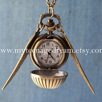 Harry Potter Enchanted Golden Snitch WATCH necklace with Double Sided brass Wings
