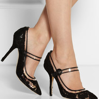 Dolce & Gabbana Leather-trimmed lace and PVC Mary Jane pumps – 50% at THE OUTNET.COM