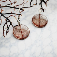 Pressed Leaf Earrings Brown Leaf Skeleton Resin Jewelry Transparent Pendant 925 Silver Plated