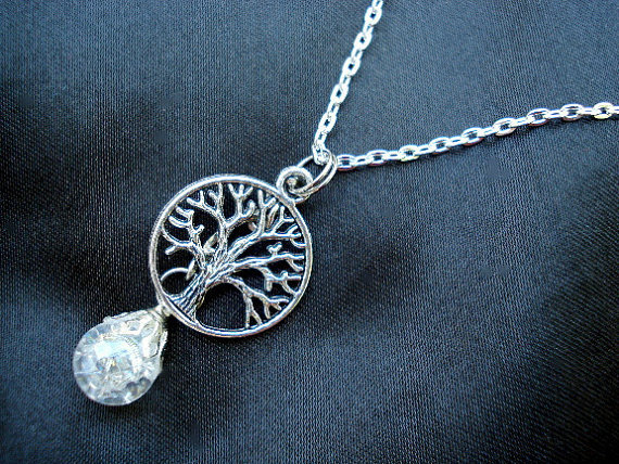Tree of Life Crystal Crackle Fried Marble Chain Necklace