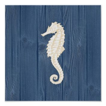 Sea Horse Vintage Blue Wood Beach Poster