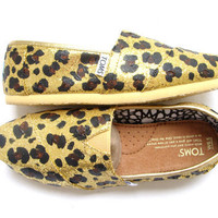 The Glittery Cheetah - Sizes 5 Womens ONLY on Gold Glitter TOMS