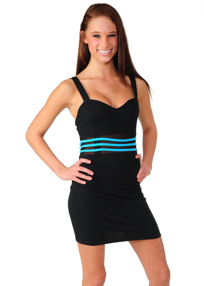 Black Mini dress with Waist Cutout and Turquoise Trim