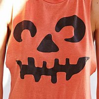 Halloween Pumpkin Muscle Tank Top- Multi