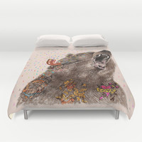 Angry Bear II Duvet Cover by Dogooder