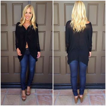 In A Whirl Draped Knit Top - BLACK