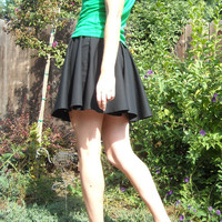 Mini Black Circle Skirt Custom Made Womens Cotton Full Skirt