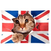 Fashion Funny UK United Kingdom Union Jack Flag Custom Rectangle Pillowcase Pillow Cases Cover 20x30 (one side) Standard Size Britain British Cute cat cases