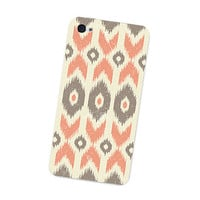 Ikat Geometric Iphone Skin 4S: Gadget Sticker Cover for Iphone 4 Skin - Southwest Tribal in Peach, Orange, Brown Cream Boho Iphone Skin