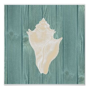 Conch Shell Vintage Aqua Wood Beach Poster