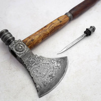 ONE OF A KIND! U.Warrior's Custom Made Beautiful Damascus Axe Knife (791)