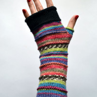 Merino Wool Fingerless gloves -  Fingerless gloves - Fashion Gloves - Rainbow Fingerless Gloves - Winter accessories  nO 49.