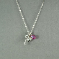 Open My Heart Necklace, Petite Heart, Mini Key and SWAROVSKI Crystal Bead, 925 Sterling Silver Chain, Beautiful Necklace