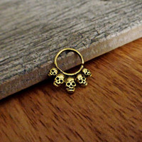 Indian Style Brass Ring For Pierced Nose, Septum, Earring, Cartridge Ring, Tragus Ring Nipple ring, Bendable, 14G