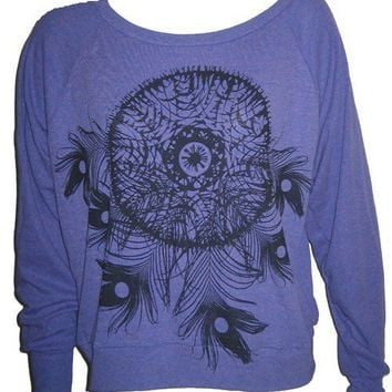 Dreamcatcher Feathers Art Print Ladies Orchid Raglan Sweatshirt Sweater American Apparel S
