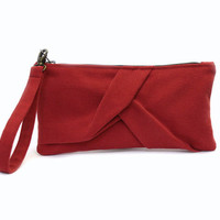 Red Wristlet Purse, Smocked Bag, Origami Clutch Purse, Casual Clutch Bag,  Red Evening Bag, Bridesmaid Clutch,Small Clutch Bag,Origami Purse
