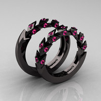 Modern Italian 14K Black Gold Pink Sapphire Wedding Band Set R320BS-14KBGPS