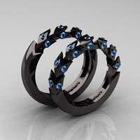 Modern Italian 14K Black Gold Blue Topaz Wedding Band Set R320BS-14KBGBT