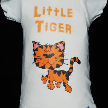 "Baby Onsie, Toddler Tee, Free Shipping, ""Tiger"", White, Baby, Toddler, Graphic Design, Baby Shower, Baby Gift, Cute Onsie, Unisex, Clothing"