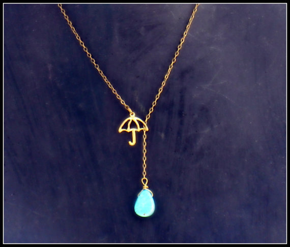 umbrella necklace with turquoise drop, turquoise necklace, rain necklace, unique necklace, vintage style necklace