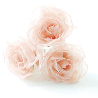 Peach silk flower hair pins, set of three