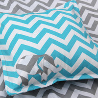 Chevron Elephant Pillow Cover Blue and Grey, Nursery Decor, Elephant Applique Pillow Cover, Pillow Cover, Chevron Stripe