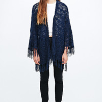 Pins & Needles Chenille Tassle Kimono in Navy - Urban Outfitters