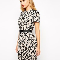 ASOS Tulip Dress in Crepe with Animal Print