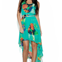 Sleeveless Green Floral Print Dress with Asymmetrical Hemlin