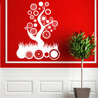 Abstract Tree Wall Decals - Wall Vinyl Decal - Interior Home Decor - Housewares Floral Art Vinyl Sticker Decal V1021