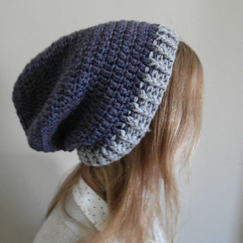 Navy & Gray Slouchy Beanie womens, teens, mens beanie, hipster, boho, chic, rustic, READY TO SHIP
