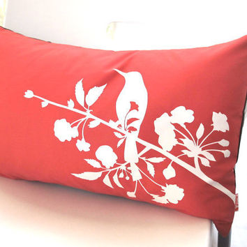 Limited Time Sale Coral Orange Blooming Blossom Rectangle Pillow