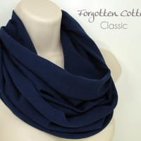Navy Infinity Scarf Dark Blue Circle Summer Lightweight